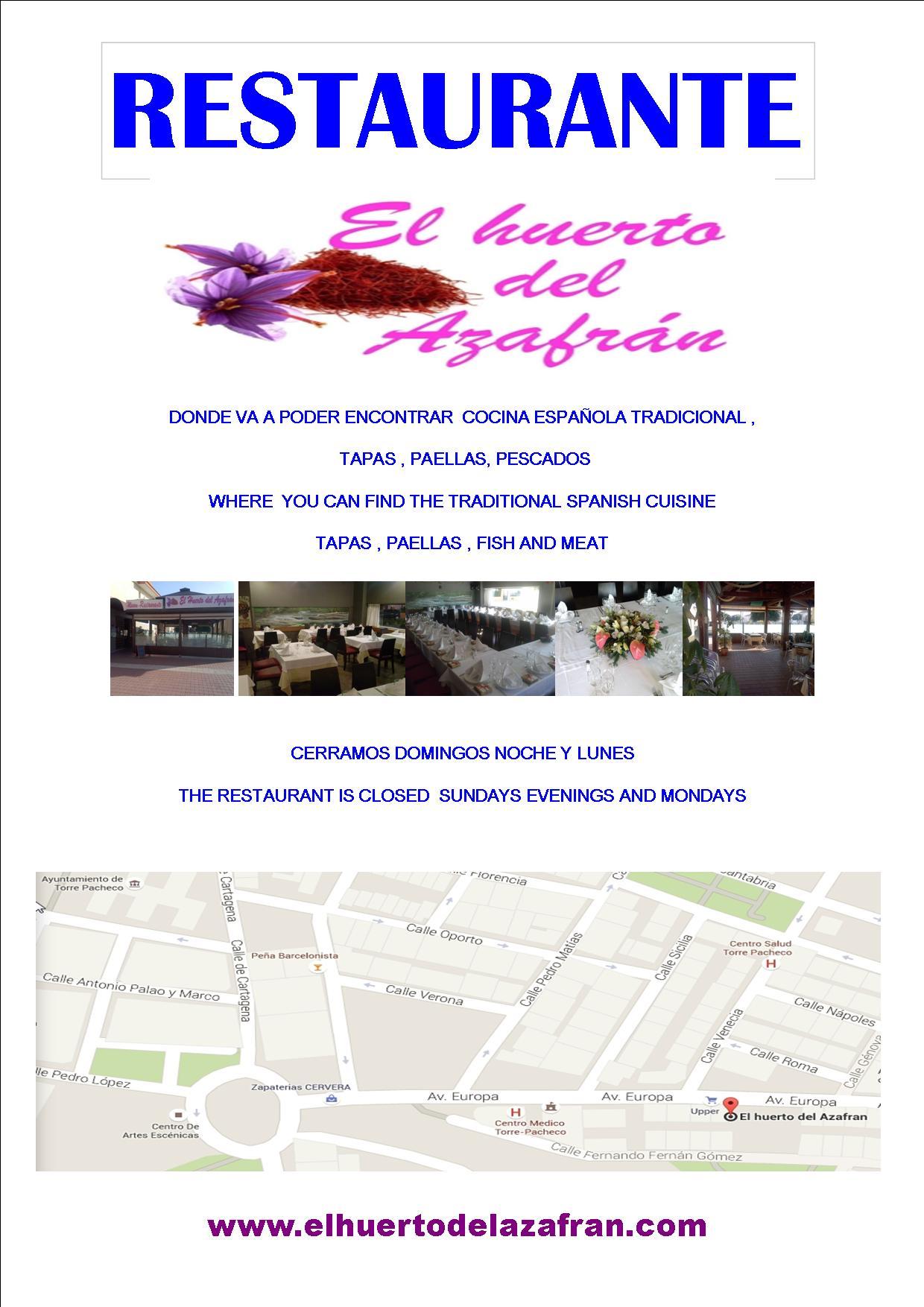 Resturant in Torre Pacheco - El Huerto del Azafran